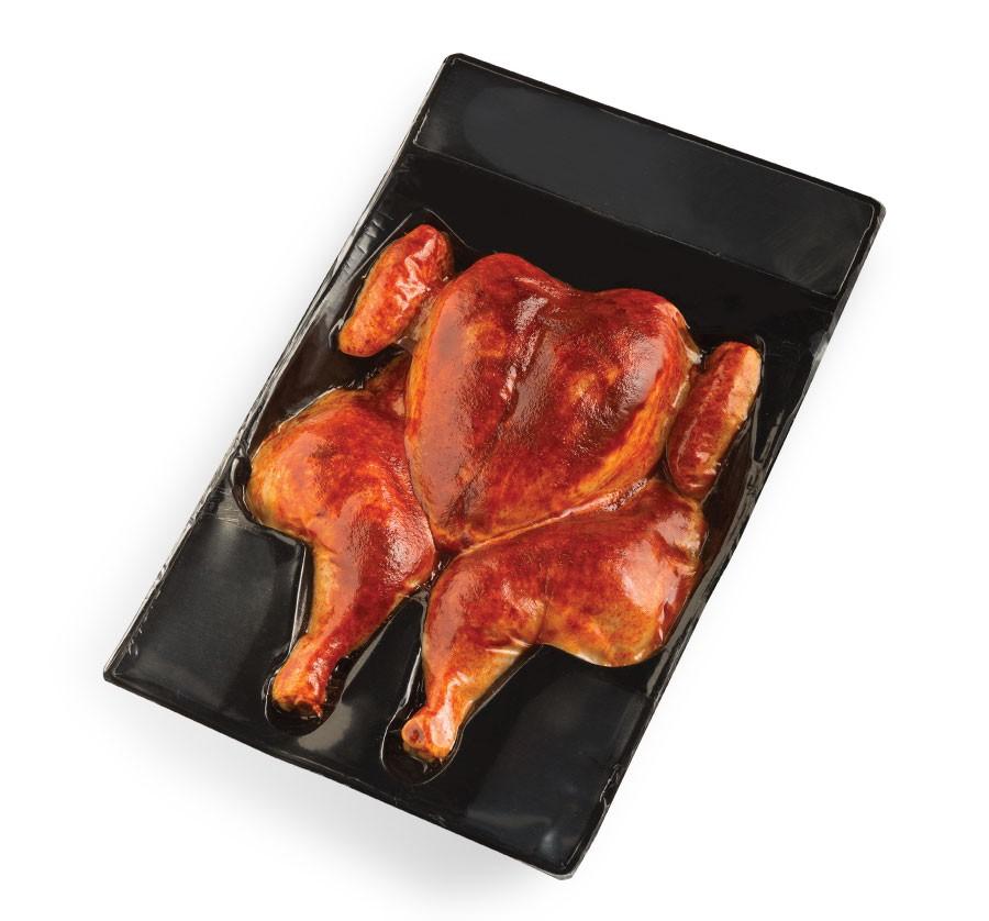 Vacuum-sealed seasoned flattened chicken